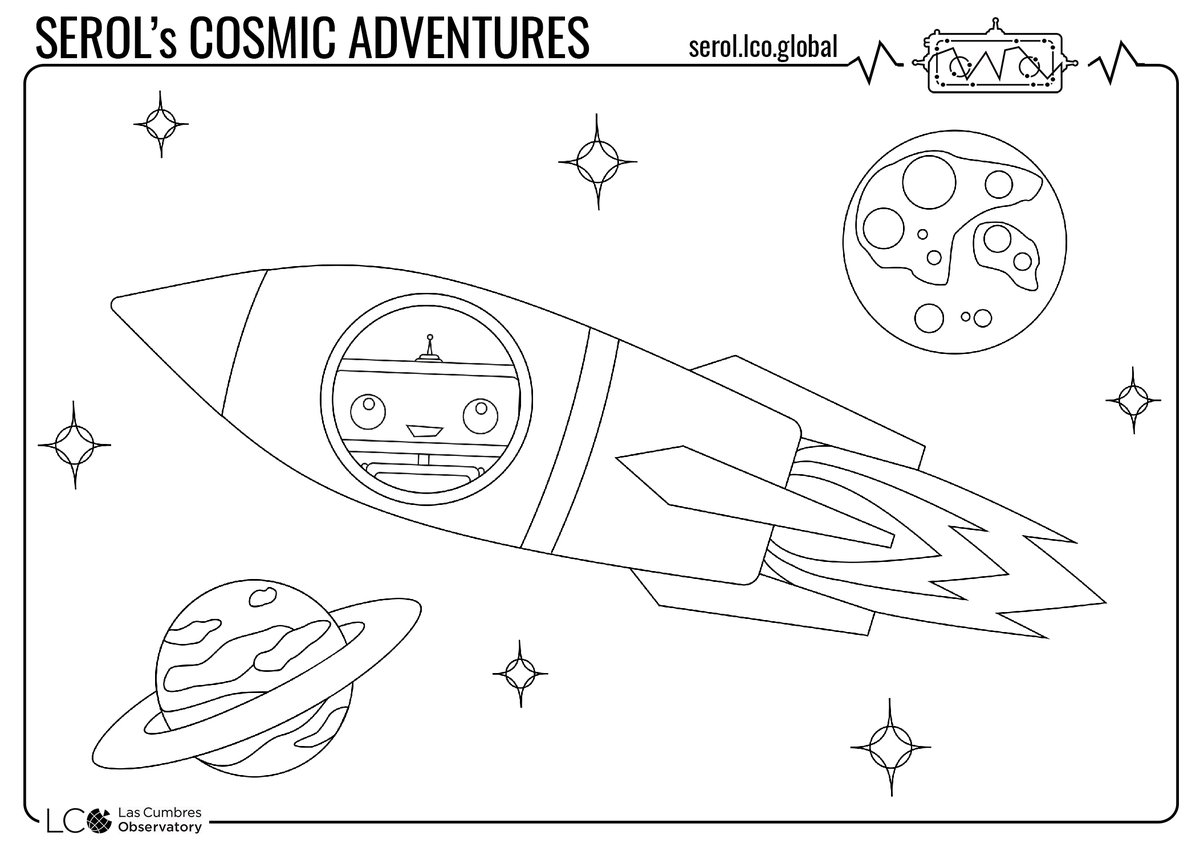 Print and color this rocket scene and go on a journey through space with Serol.🚀✨