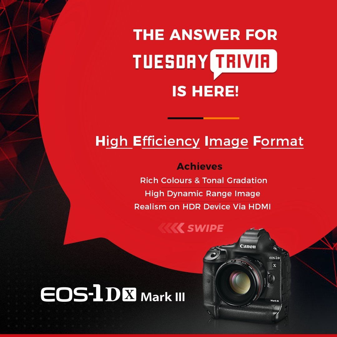 And the answer to the #TuesdayTrivia has been unveiled! Did you know that High Efficiency Image Format helps you achieve high dynamic range images, detailed color gradation and, allows you to view/print directly from device?!  #Riddle #Fun #Trivia #CanonPhotography #CanonEOS pic.twitter.com/qx9NDr16OL