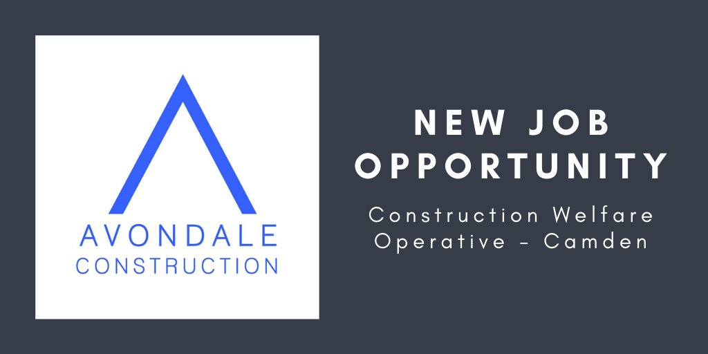 JOB ALERT! @InfoAvondale are seeking a Construction Welfare Operative to join their growing team https://t.co/czvWnnBJoH for more info on working with this family run firm 👷‍♀️🏗️ #ConstructionCareers #BuildingPathways #LoveConstruction #JobOpportunity #ConstructionJobs #CamdenJobs