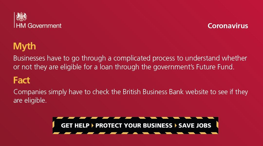 Fact: Companies simply have to check here on the British Business Bank website if they are eligible. To find out more visit: gov.uk/business-suppo…