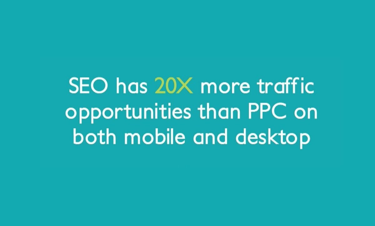 #SEO has 20X more traffic opportunities than PPC on both mobile and desktop.   #MarketingDigital #Contentpic.twitter.com/zXLSoYyaw4