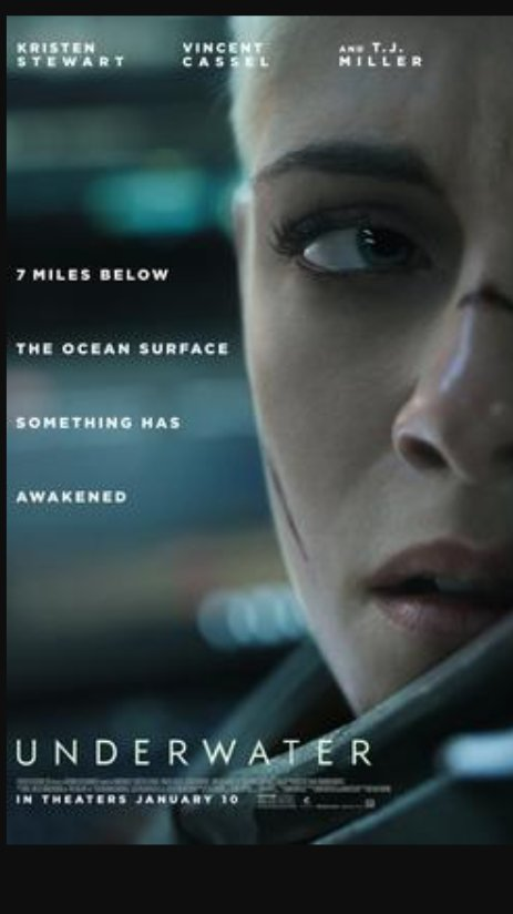 Just finished watching #underwater horror/thriller movie.  Loved it . pic.twitter.com/3T78azbOdK