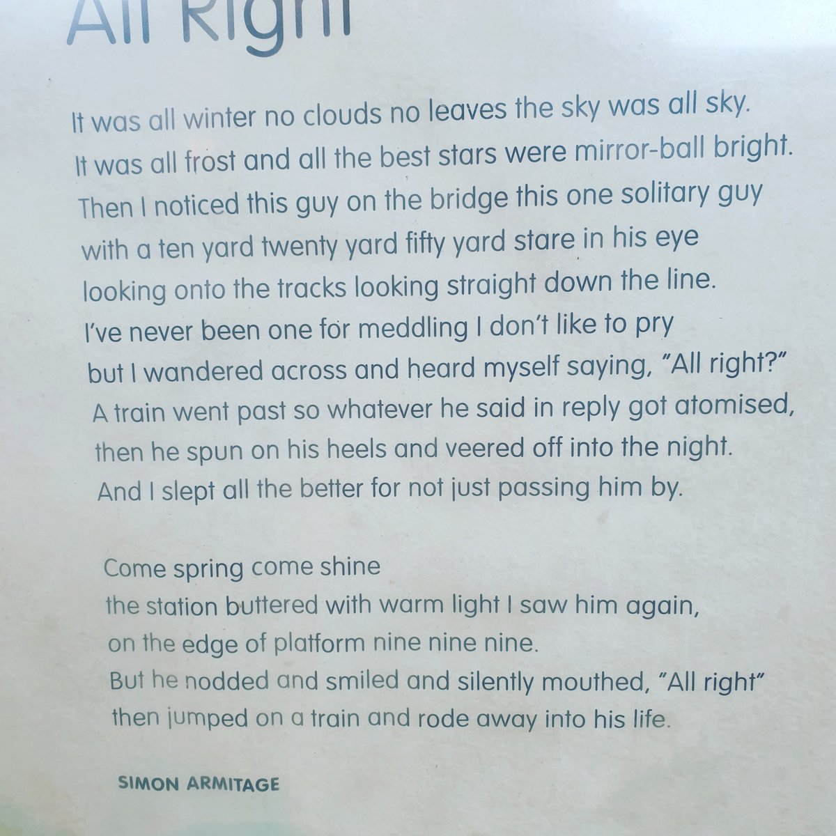 A beautiful poem about noticing distress and saving a life.  Our small acts of 'noticing' and kindness may save lives everyday.  #SuicidePrevention
