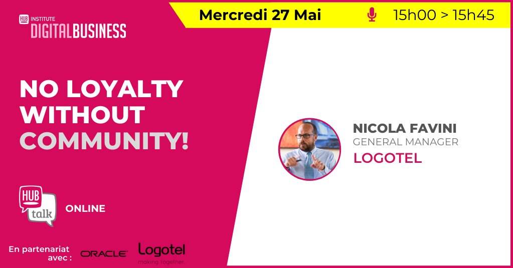 Logotel will participate in @HUBInstitute webinar on May 27 from 3 to 3:45 pm. GM Nicola Favini (@ilnikkio) will talk about how the unique context we're still living in has increased the importance of our Business Communities. Click here to register! https://t.co/iCRy0gHrsk https://t.co/RrlNItXUwT