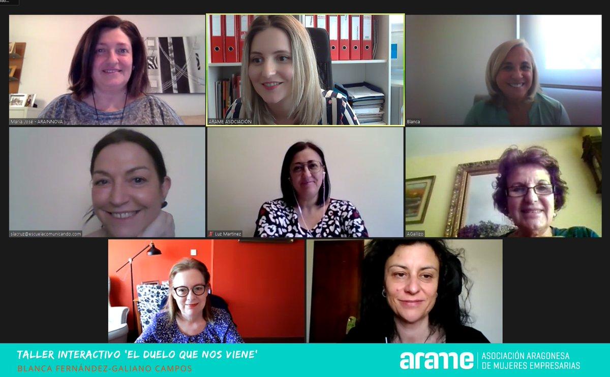 Estupendo taller ARAME sobre el Duelo de la mano de la experta @BlancaGaliano , muchas gracias a todas las que habéis participado, ¡hasta el próximo! . . #mujeres #mujeresempresarias #talleronline #formacion #profesionales #arame #directivas #gerentes #estadodealarma #aragon https://t.co/9sktlIAsRj