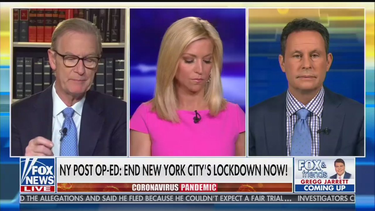 fox & friends has been obsessed with a new york post op-ed today calling for nyc to re-open.  here's who they asked about it: andrew napolitano, tammy bruce, and sen. rick scott.  all socially distanced. <br>http://pic.twitter.com/z84A5lNExN