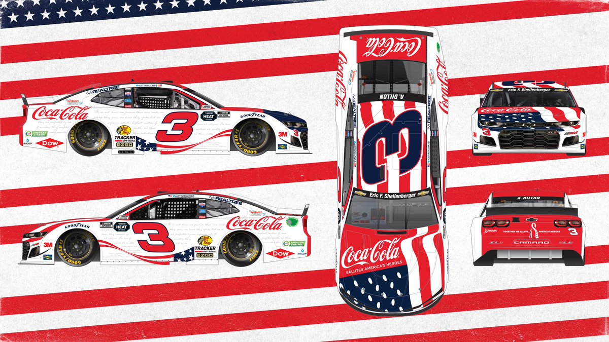 The paint scheme we designed for @austindillon3 celebrates America's frontline heroes and their families, especially the men and women who have made the ultimate sacrifice for our country. #CocaCola600 https://t.co/MSA01NhAkG