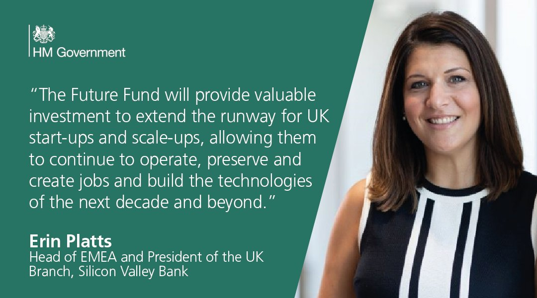 """""""The Future Fund is one way to protect the UK's thriving innovation and life sciences industries to help maintain our place as one of the most attractive and successful tech hubs globally."""" @erin_platts, Head of EMEA and President of @svb_uk, on the Future Fund"""