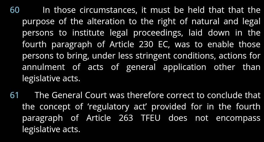 @dogpatchryan @JulienHoez @eyejosh Case law seems to suggest that a regulatory act is any act of general application which is not legislation (Inuit). Nothing in the Treaty or case law AFAIK says that it cant refer to a Council act.