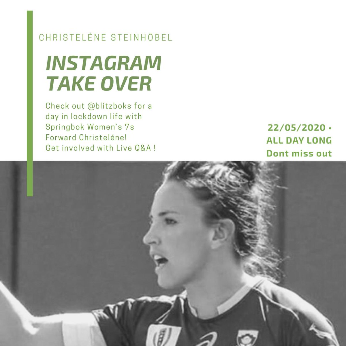 Suffering a bit due to Lockdownblues? Head over to IG where @CSteinhobel is taking over the @Blitzboks page on Friday! @ASICS_ZA @FNBSA @CastleFreeSA
