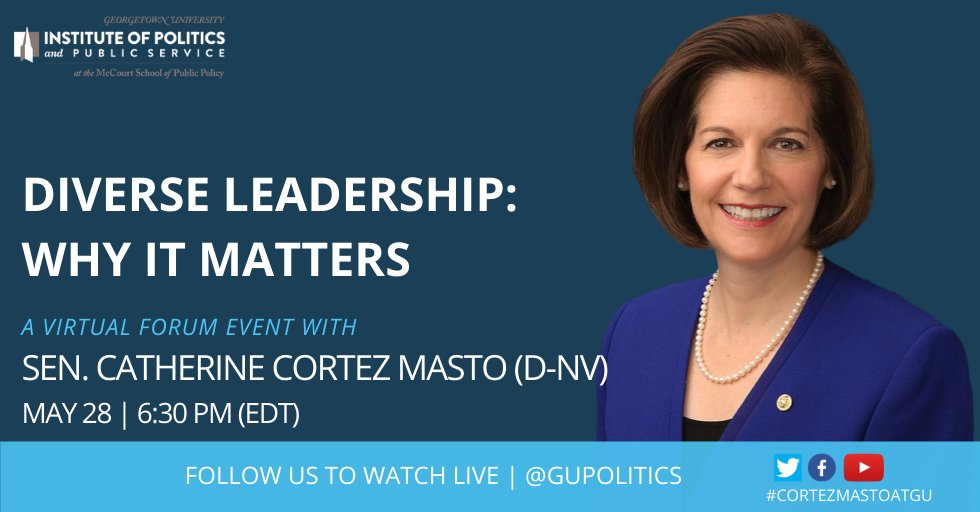 COVID-19 is having devastating effect on communities of color. @SenCortezMasto—the first Latina ever elected to the U.S. Senate—has spent her career combating issues that affect vulnerable communities. Tune in with us next Thursday for our conversation: politics.georgetown.edu/event/diverse-…