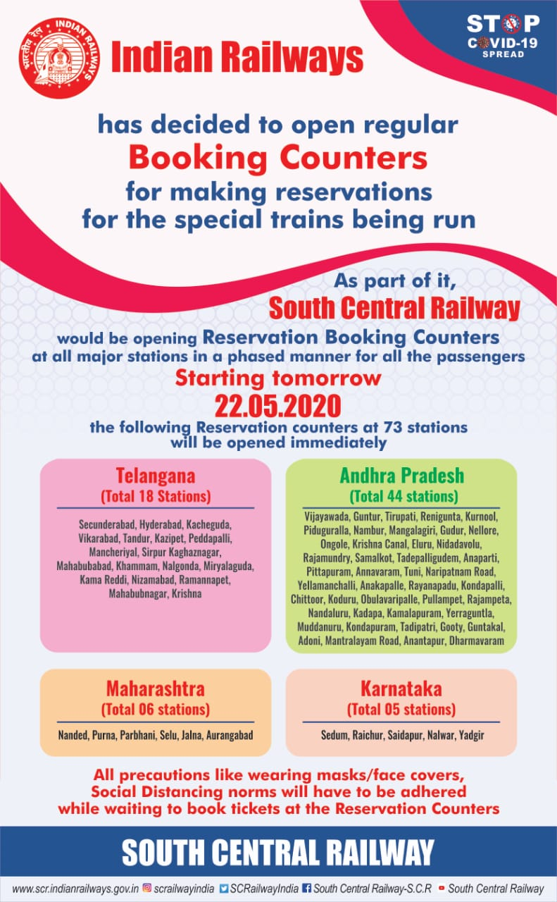 Indian Railways gov.in Counter Ticket Stations List and arrangements details