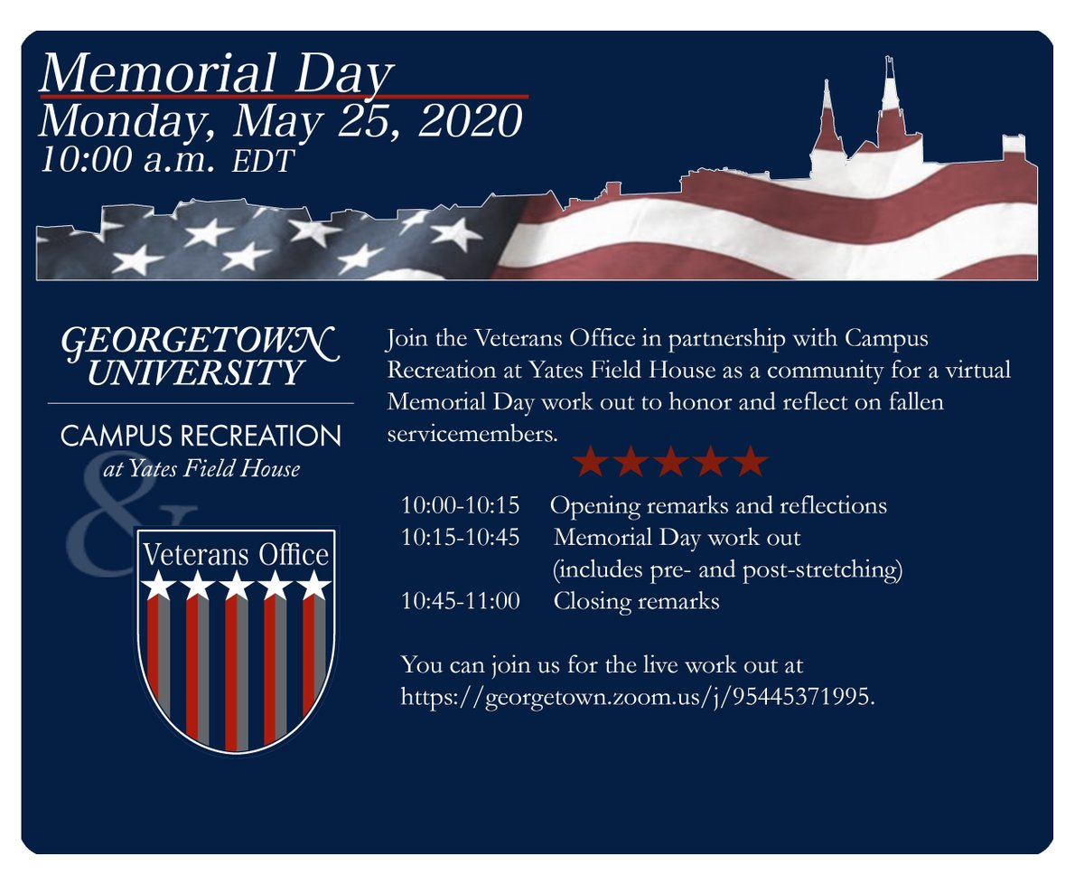 On Memorial Day, join us for a virtual Memorial Day workout to honor and reflect on fallen service members. This event is hosted by the Veterans Office in partnership with Campus Recreation and @YatesFieldHouse. To learn more about the event, please visit: bit.ly/3g7u2ya