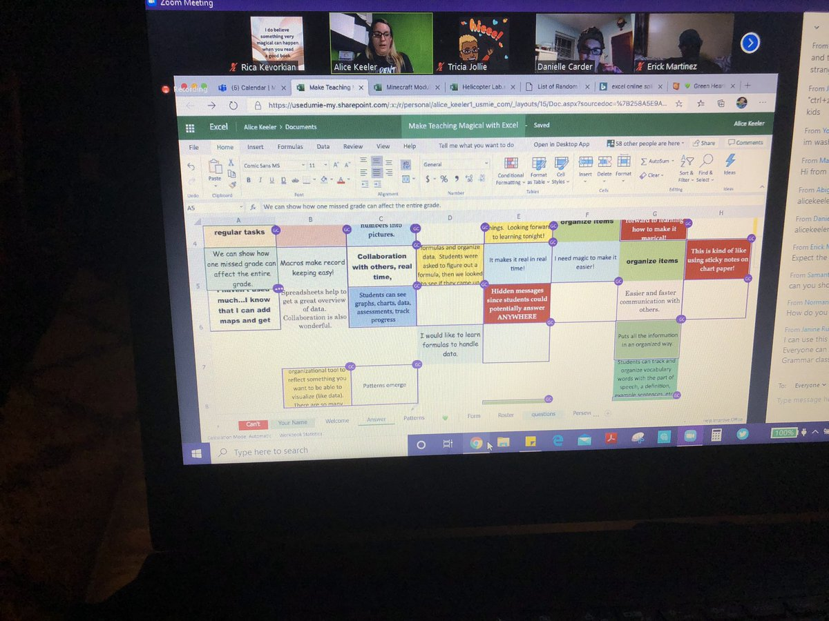 Attended a virtual PD with @alicekeeler last night. Only she can make learning about Excel a magical experience at 10pm🙃! #GETA #MicrosoftEDU #WeAreCUE