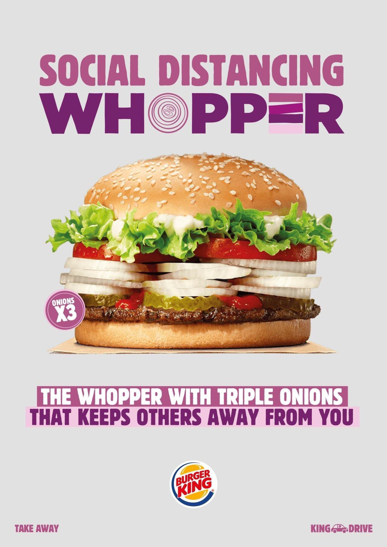 campaña burger king social distancing whooper