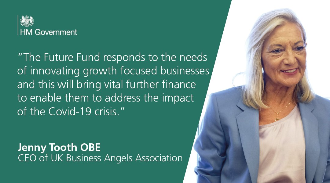 """""""UK Business Angels Association congratulates the government for bringing this important initiative so rapidly into the market. Jenny Tooth OBE, on the government's Future Fund and the role it can play in supporting the continued development of growth-focused businesses"""