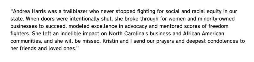 Gov. Cooper's statement on the passing of Andrea Harris: