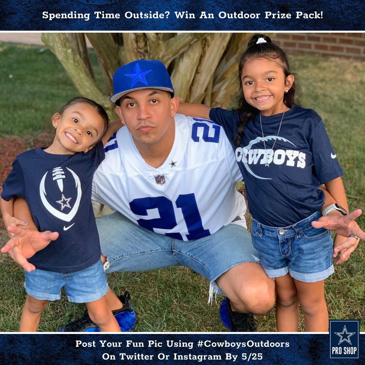 ICYMI: a 🆕 #DallasCowboys prize pack is at stake!  1. Follow us 2. Post a pic of your time spent outside in your #CowboysNation gear using #CowboysOutdoors 3. You could win a Pro Shop package of awesome outdoor gear!  Enter by Monday 5/25. Rules: https://t.co/7JX0xUFgq5 https://t.co/Fb4qpmHWBU