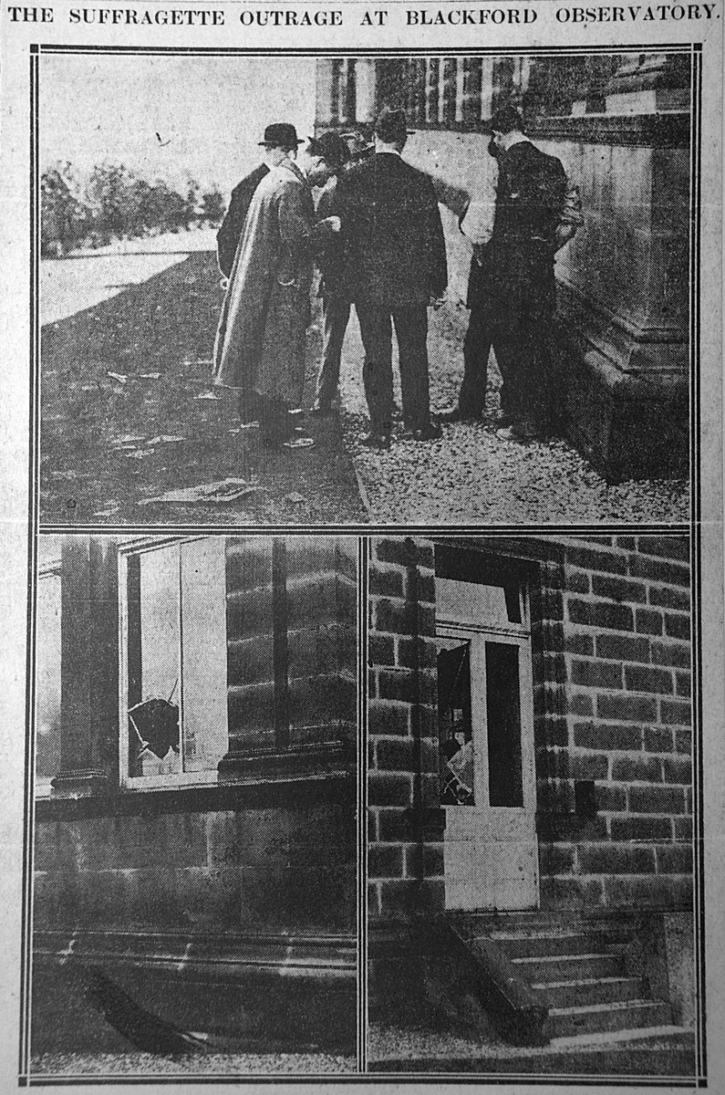 """#OtD 21 May 1913 a bomb exploded at the Royal Observatory in Edinburgh, Scotland, set by suffragettes. It caused no casualties but caused some damage. A note was left reading: """"How beggarly appears argument before defiant deed. Votes for women."""""""
