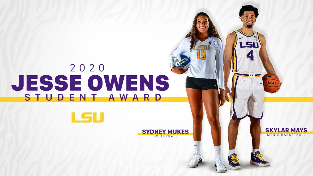.@skylarmays4 & @SydneyMukes19 have been named recipients of the #LSU Jesse Owens Award! List of @LSU_BFSC Award Recipients: lsul.su/2TpwKp5 #GeauxTigers