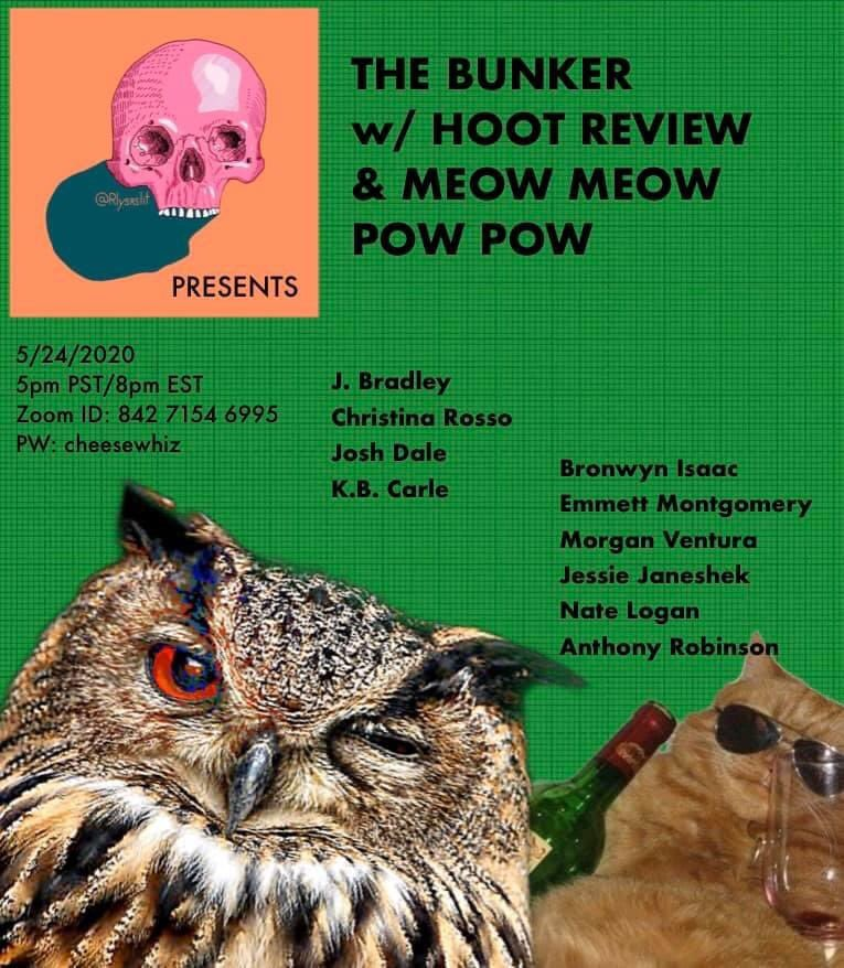 Oh look it's me! I'll be reading with the wonderful folks @HOOTreview and @meowmeowpowpow THIS SUNDAY!