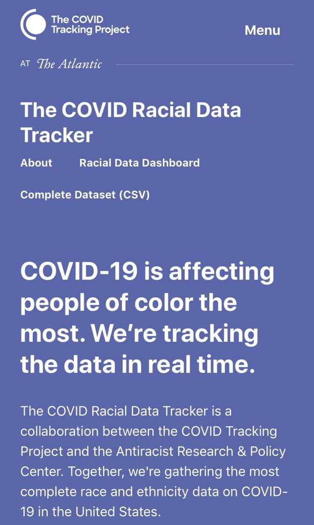 In partnership with @COVID19Tracking, the @AntiracismCtr is proud to release our COVID Racial Data Tracker. Our Tracker provides the most complete and up-to-date race & ethnicity data on COVID-19 in the U.S. Check out our new page at covidtracking.com/race #RacialDataTracker 1/4