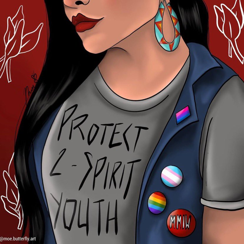 Thank you @ moe.butterfly.art for reminding us that we are all sacred. To all the Indigequeers out there 💕⁣ -⁣ -⁣ -⁣ -⁣ -⁣ -⁣ -⁣ -⁣ #TwoSpirit #2Spirit #Indigequeer #sacred #IndigenousYouth #NativeYouth #TwoSpiritYouth #Indigenous #Native #ProtectTheSacred