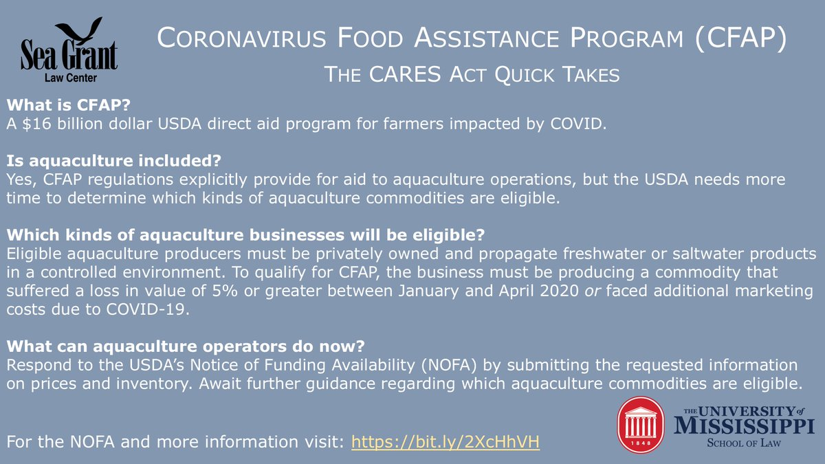 More important details on the #CFAP and #aquaculture from our colleagues at the Sea Grant Law Center.