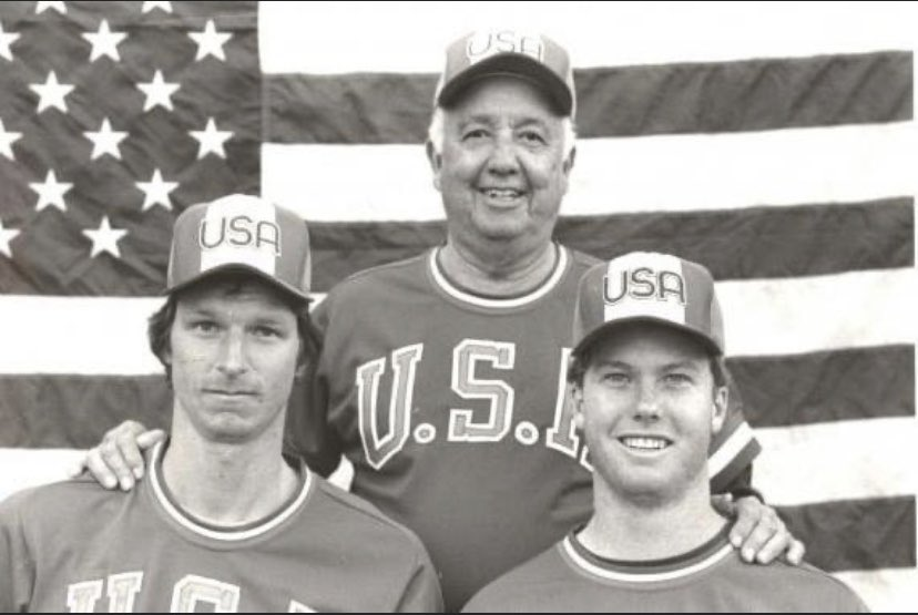 Here... Pictured, Rod Dedeaux, Randy Johnson and Mark McGwire 1984 USA National Team. Tons of local talent on this squad!! So good that Randy Johnson was eventually cut from the team. #uscbaseball #usabaseball #1984olympicbaseball
