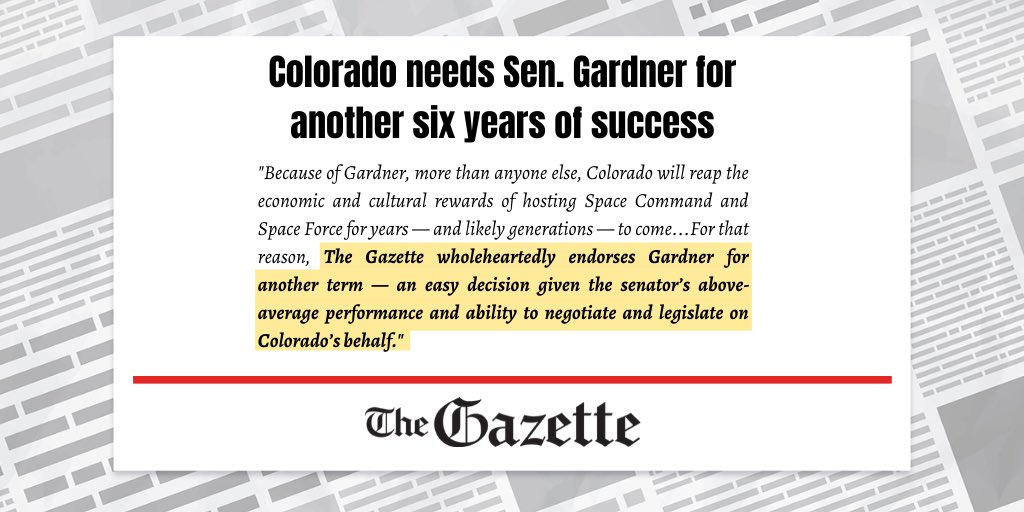 Honored to have the @csgazette's endorsement to keep fighting on behalf of Colorado for the next six years. Read more here: gazette.com/premium/editor…