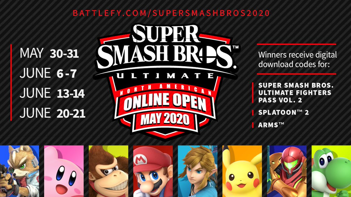 3, 2, 1, GO! The #SmashBrosUltimate North American Online Open May 2020 tournament kicks off on 5/30 and is open for registration today! The top 4 players will win download codes for the Fighters Pass Vol. 2, #Splatoon2, and #ARMS. Register today!
