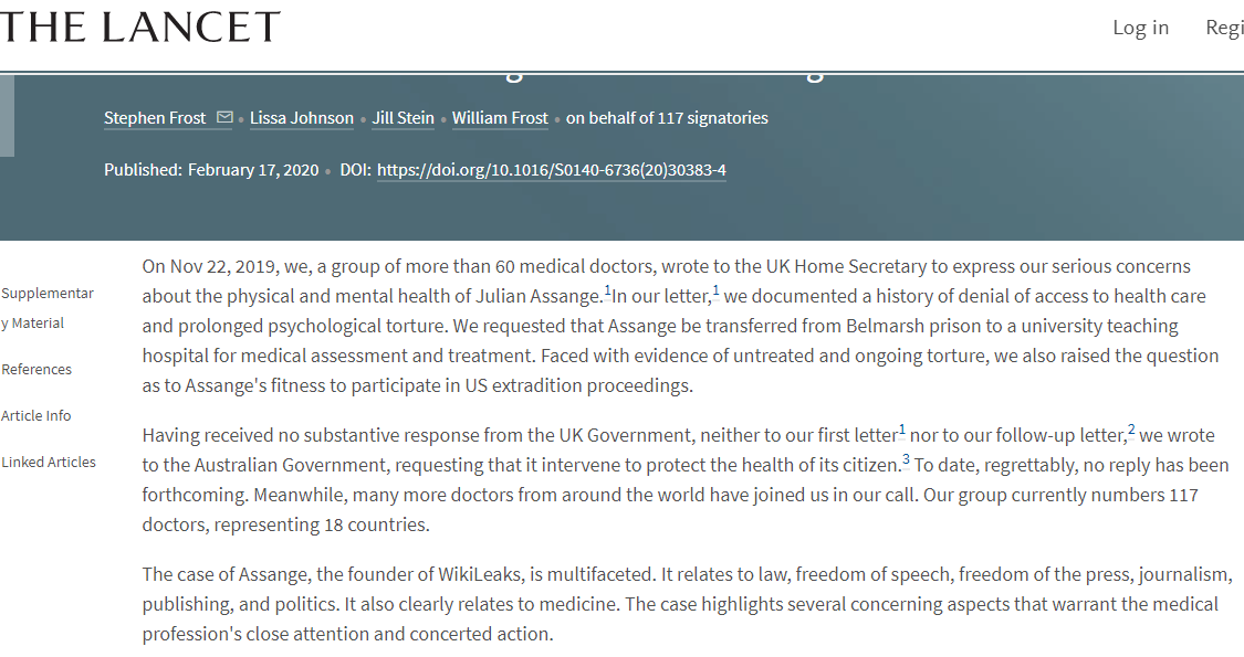End torture & medical neglect of Julian Assange Should Assange die in a UK prison, as the UN Special Rapporteur on Torture has warned, he will effectively have been tortured to death. thelancet.com/journals/lance… [@Underground_RT coverage: youtube.com/user/GoingUnde…] #mentalhealth