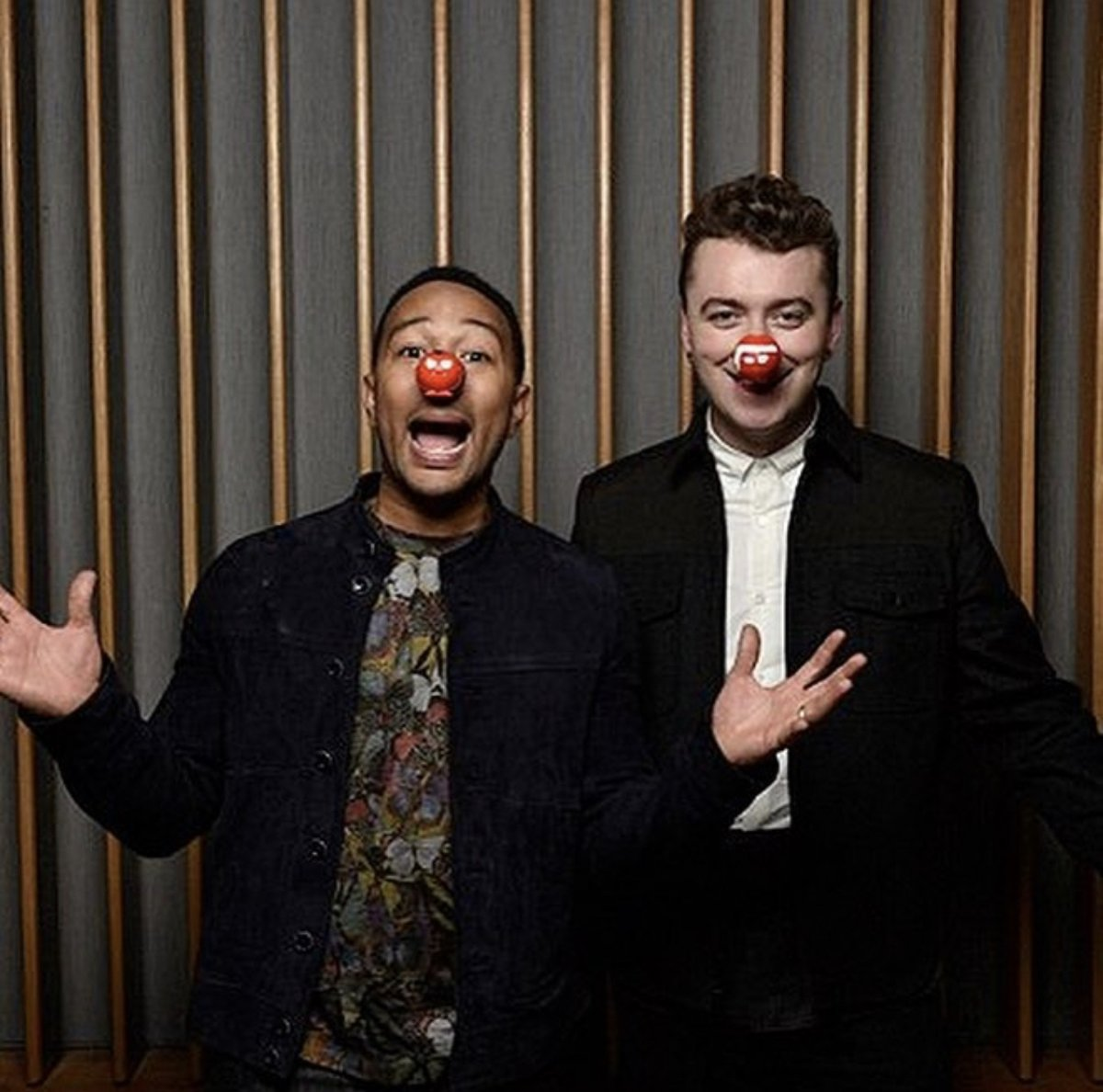 #TBT to 2015 with @samsmith and @johnlegend in Studio A re-recording 'Lay Me Down' for #rednoseday Check out our Facebook page for the full video! https://t.co/YxX1eW4syL