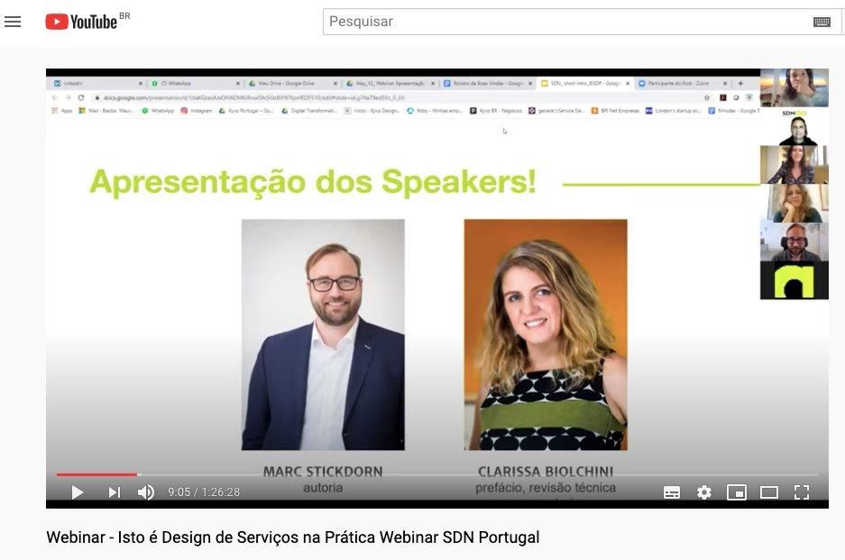 Webinar incrivel com Marc Stickdorn  e Clarissa Biolchini pela Service Design Network - Portugal Chapter, confere no link: https://youtu.be/idBU8JhMRzE  #empreendedorismo #startups #liderança #carreira #criatividade #inovacaopic.twitter.com/Y7ClEDqBZc