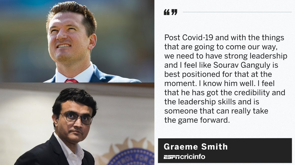 Graeme Smith thinks 'it would be great' to see Sourav Ganguly elected as the next ICC chairman.    https:// es.pn/2ZreQWG     <br>http://pic.twitter.com/It0bGdBnhC
