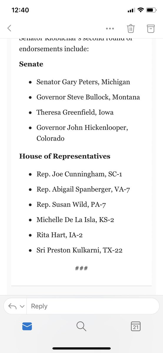 Amy Klobuchar endorses her second round of House/Senate candidates through her Win Big Project: