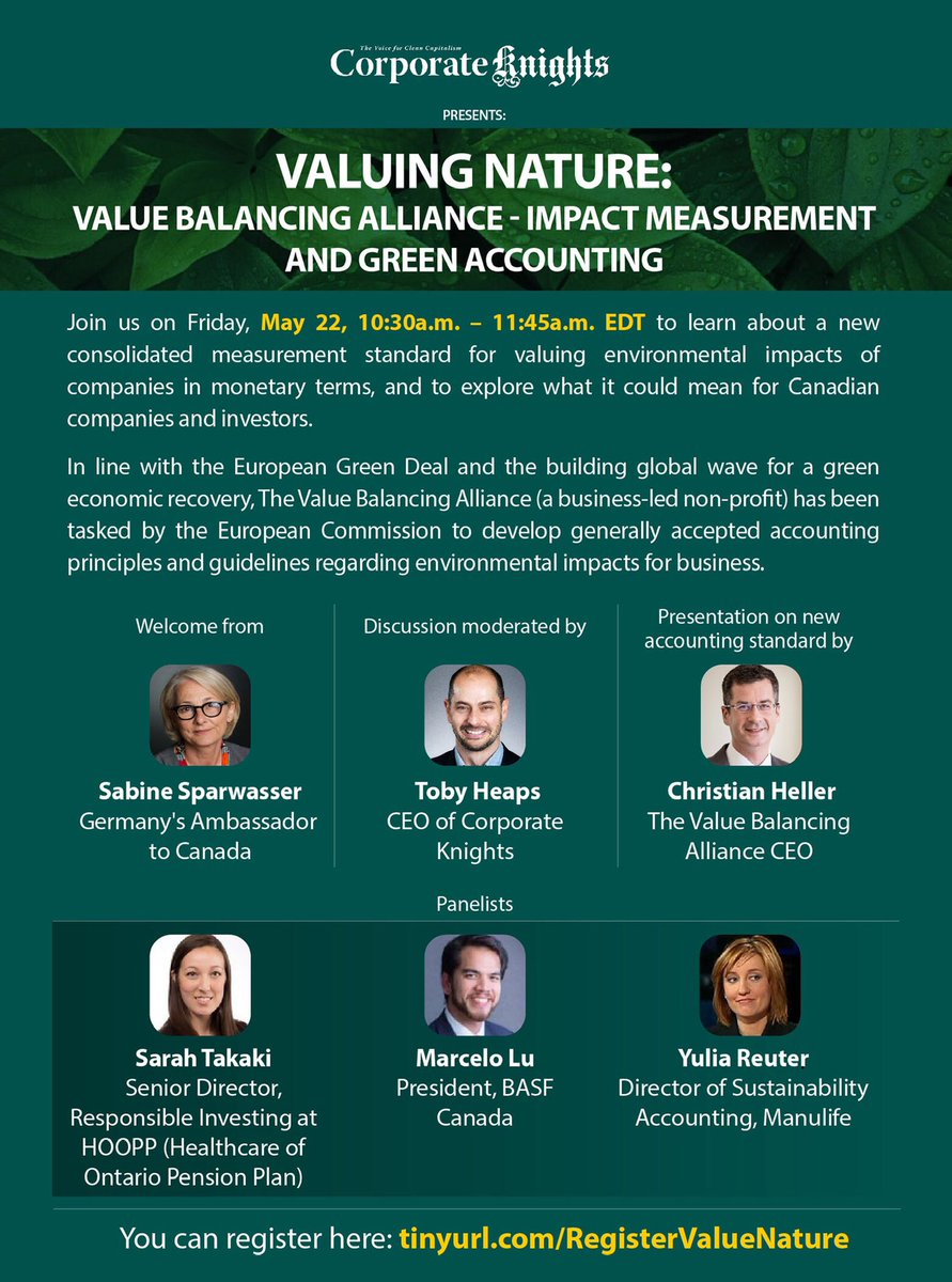 SAVE THE DATE! Just 24 hours left to discover more about how @valuebalancing is developing consolidated standards to measure the #environmentalimpact of Canadian companies in monetary terms. Register here and join the #greeneconomicrecovery --> https://t.co/mqSUyO4Vz8 https://t.co/fuBIZskirF