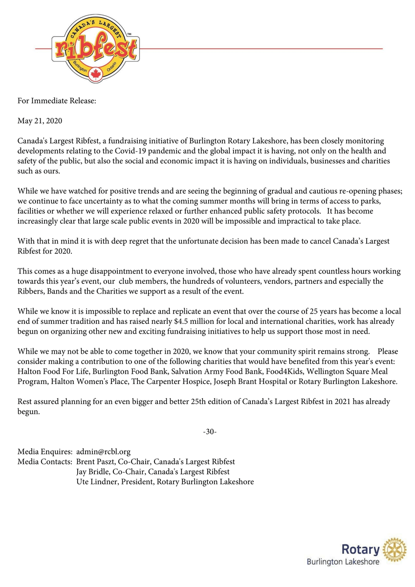 Important information regarding Canada's Largest Ribfest 2020. https://t.co/zwdXJNLMua https://t.co/vdt7oDAXQF