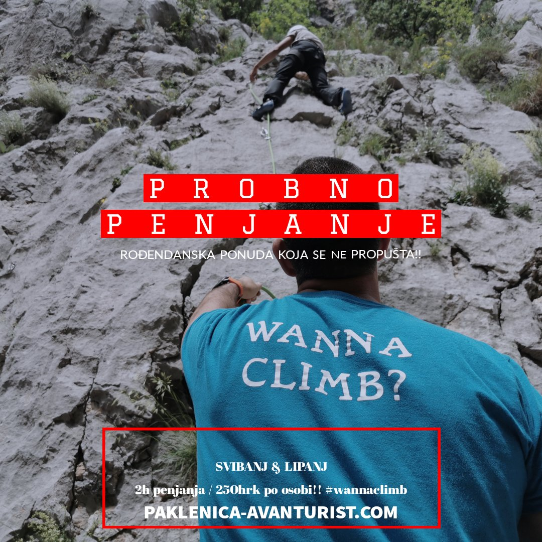 Rođendanska ponuda koja se ne propušta🎂 - Svibanj i Lipanj/2h penjanja/250HRK po osobi!  Info ➡️ @PaklenicaA  #wannaclimb #paklenicanationalpark #croatia #outdoors #mountains #mountaineering #mountainlife #climbing #climbing_is_my_passion #climbing_picture https://t.co/JiAUGGP41v