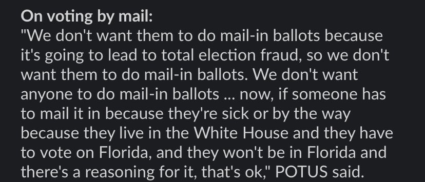 New comments from Trump on mail-in voting, per pool. Tldr: only he can do it??
