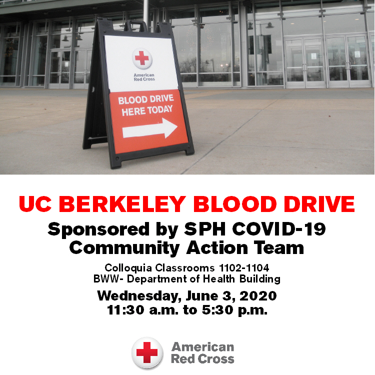 Wednesday, June 3, Berkeley Public Health Community Action Team is sponsoring a COVID-19 blood drive. Schedule an appointment here: redcrossblood.org/give.html/driv…