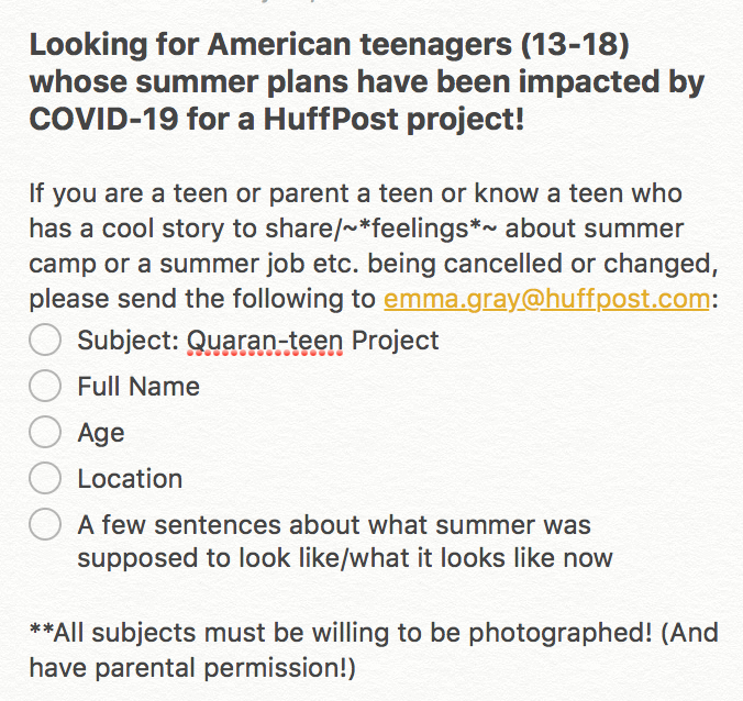 Help me find some teens (13-18) to interview for a cool new HuffPost project!