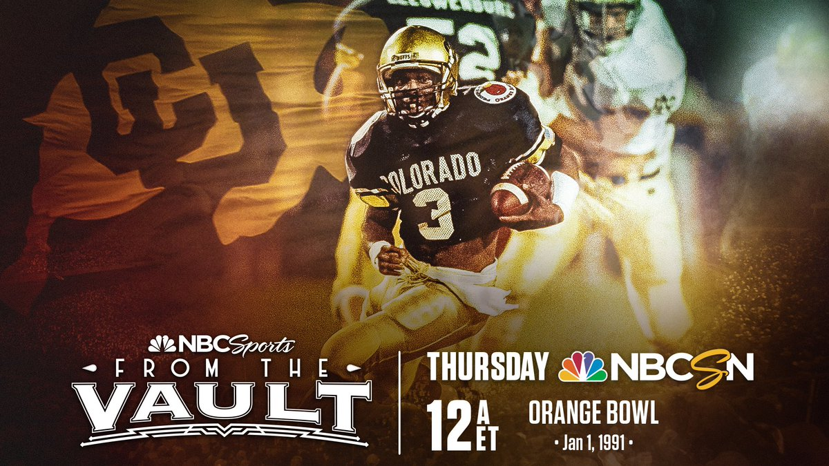 Rewatch @CUBuffsFootballs first national championship at the 1991 Orange Bowl tonight on @NBCSports! Tune-in on Facebook to follow along with Colorados virtual watch party during the game 🍊🏆 📺: @NBCSN 🕛: Midnight ET 💻: facebook.com/cubuffsfootbal…