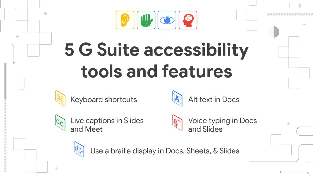 Keep students engaged and learning with these built-in accessibility tools in #GSuiteEdu ⬇️ goo.gle/2yqJi8m #GAAD #a11y