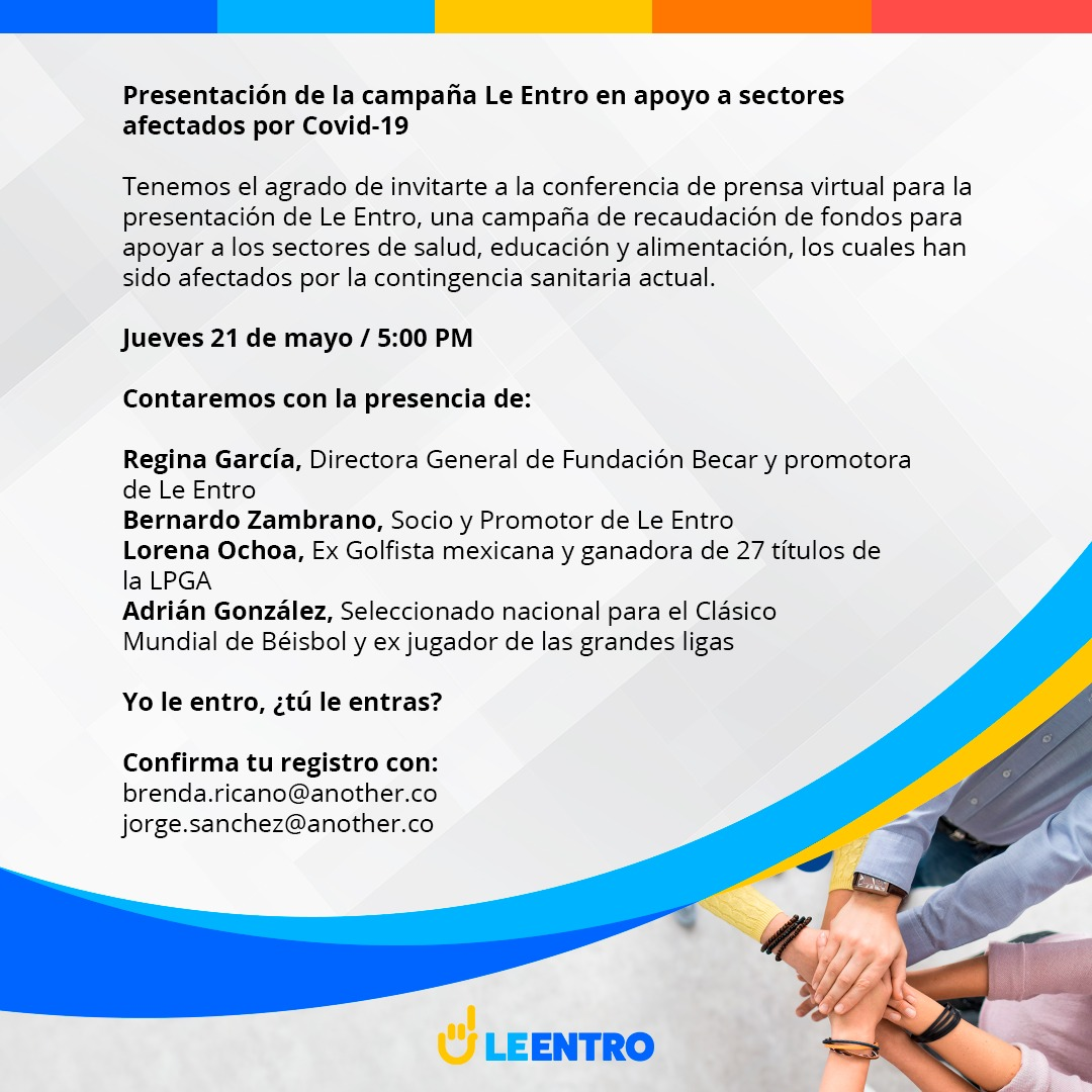 👏👏Campaña para la recaudación de fondos para apoyar al sector de la salud, educación y alimentación👏👏 Contarán con la presencia de @LorenaOchoaR  #LeEntro  ¡No te la pierdas! https://t.co/IDWwij4ULd