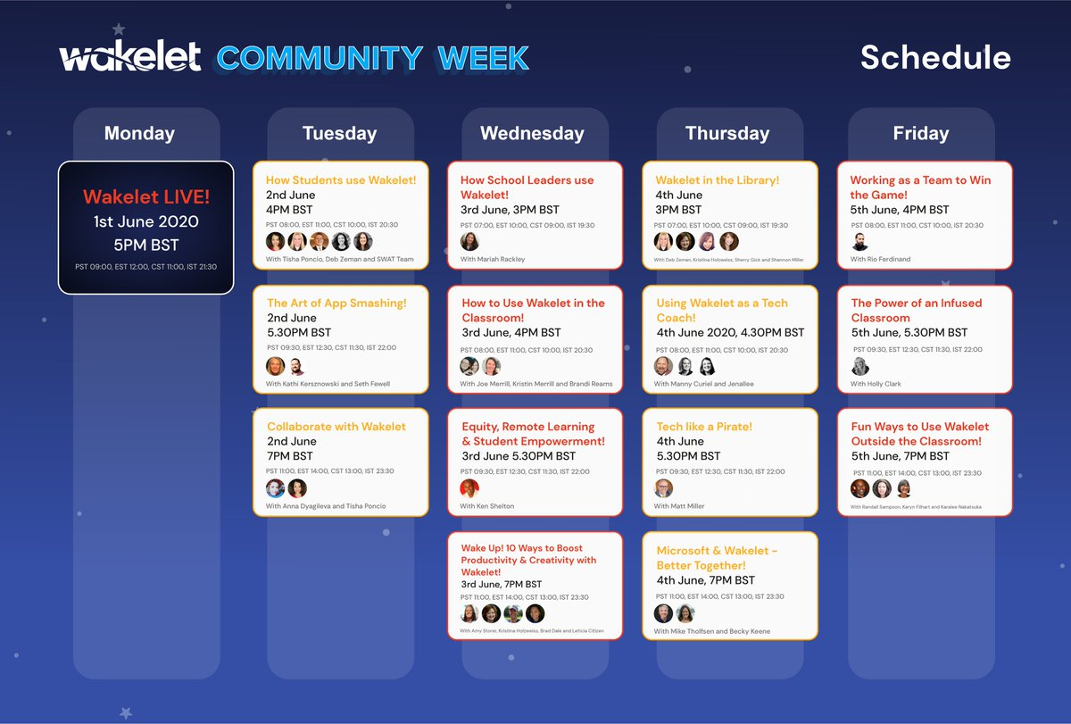 Tune in during Community Week for live sessions with special guests, and your favorite EdTech Experts!💯🚀 One things for sure... Theyre gonna bring the 🔥🔥🔥 Check out the full schedule below & register here!⬇️ community.wakelet.com/communityweek/ #WakeletCommunity