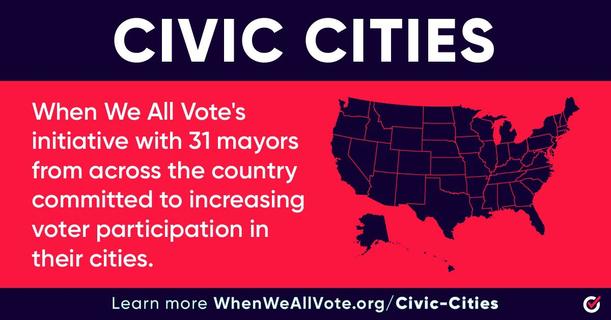 As a founding mayor of @WhenWeAllVote's #CivicCities initiative, I am committing to:  📣Mobilizing local leaders in our community  📞Collaborating with mayors across the country  🗳Sharing safe voting information and resources  Now let's get to work: