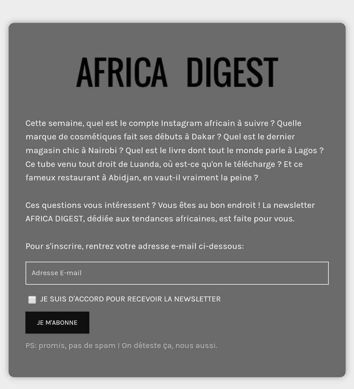 Rappel: J'envoie ma newsletter hebdomadaire @africa_digest demain matin.    Pour la recevoir, inscription en 30 secondes sur https://t.co/ElZosFMHUa 😊 https://t.co/CzVgEvLTg4