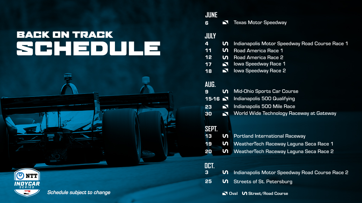 Updated 2020 NTT INDYCAR SERIES schedule has been released. Read More: bit.ly/3gdVcTQ #INDYCAR