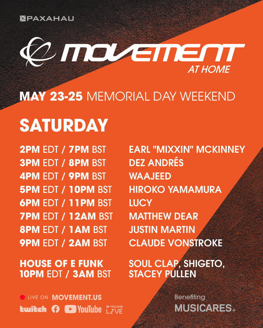 Your Movement At Home set times & afterparties are here! Tune in at https://t.co/mPk7F7XNFJ, follow/subscribe to our Twitch, YouTube & Mixcloud channels📲 #MovementDetroit #MovementAtHome ⟶ https://t.co/aZApYjGTvg ⟶ https://t.co/Pe31o3Pyip ⟶ https://t.co/KkYhNehxTd https://t.co/S9U0QaopJF